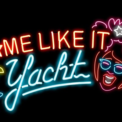 Digital illustration of neon sign advertising Famous Sharron's Some Like It Yacht Fringe World show, 266kb.